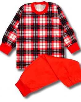 piżamka dziecięca w granatowo-czerwoną kratę