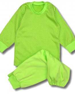 jasnozielona piżamka w groszki