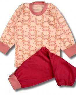 piżama dziecięca pudrowy róż w kwiaty