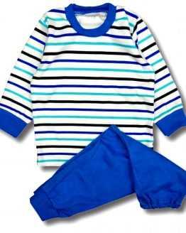 piżamka w niebieskie i lazurowe paski