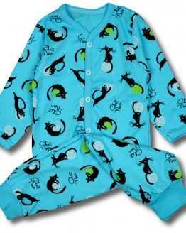 piżama spodnie +kaftanik koty na turkusie 80 86 92 98 104