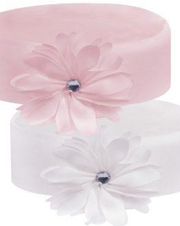 opaska na uszy ecru i różowa
