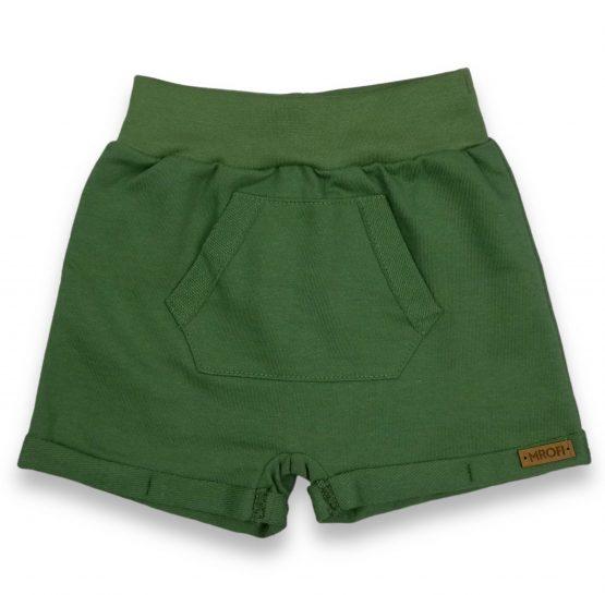 zielone krótkie spodenki z kieszonką dziecięce