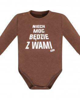 Brązowe body długi rękaw niemowlęce z napisami