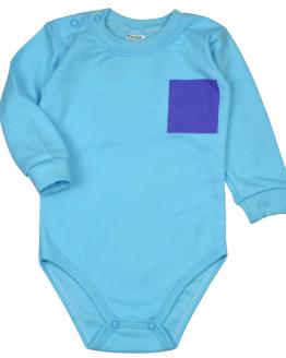 Turkusowe body z kieszonką niemowlęce z niebieska kieszonką