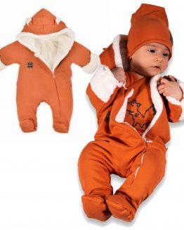 rUDY pajac ocieplany białym futerkiem FOX kombinezon niemowlęcy