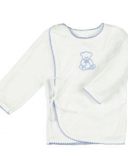 biały bawełniany kaftanik dla noworodka zawiązywany na troczki z niebieskim haftem