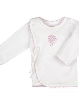biały kaftanik koszulka zapinana kopertowo z różowym haftem