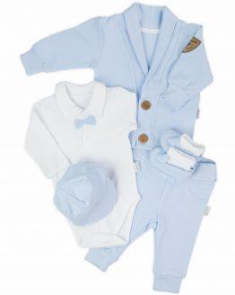 błękitny komplet ocieplany do chrztu dla chłopca