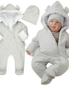 jasnoszary kombinezon niemowlęcy ocieplany białym futerkiem z czapką