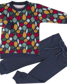 dres dziewczęcy bluza tunika w kolorowe listki i gładkie spodnie dresowe