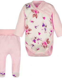 jasnoróżowy komplet wyprawka dla dziewczynki półśpiochy i body kopertowe w delikatne kwiaty www.ciuchciuch.com
