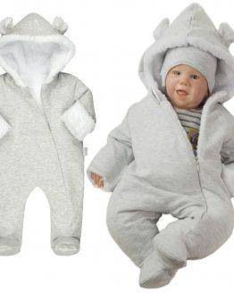 ciepły pajac niemowlecy szary z kapturem i rękawiczkami