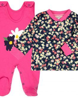 komplet niemowlęcy różowe śpiochy i kaftanik w kolorowe kwiaty