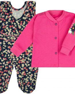 komplet dziewczęcy wyprawka śpiochy w kwiaty i różowy kaftan