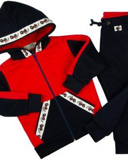 granatowo-czerwony dres traktorki spodnie dresowe i bluza z kapturem