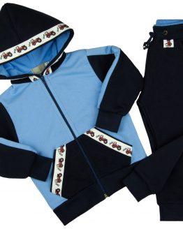 granatowo-niebieski dres traktorki spodnie dresowe i bluza z kapturem