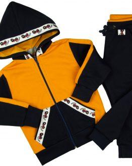granatowo-miodowy dres traktorki spodnie dresowe i bluza z kapturem