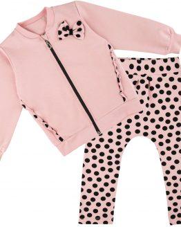 pudrowy róż dres dziewczęcy w grochy polka dot z kokardą spodnie i bluza rozpinana