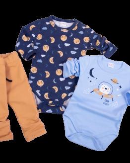 komplet niemowlęcy dla chłopca body o tematyce kosmos i spodnie dresowe z kieszonką