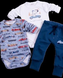 komplet niemowlęcy body długi rękaw w auta i spodnie dresowe z regulacją w pasie