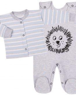 komplet niemowlęcy wyprawka szara śpiochy i kaftan mrofi