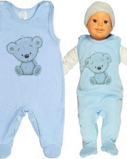 ŚPIOCHY błękitne niemowlęce z nadrukiem misio