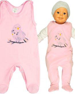 jasnoróżowe śpiochy niemowlęce z nadrukiem ptaszek