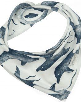 apaszka niemowlęca śliniak biały w niebieskie delfiny na napki