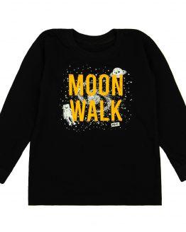 CZARNA bruzka długi rękaw z nadrukiem moon walk