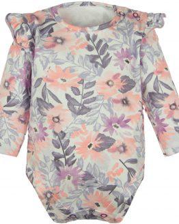 body długi rękaw z falbankami w pastelowe kwiaty wrzosowe i różowe