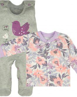 śpiochy i kaftanik w pastelowe kwity komplet niemowlęcy dla dziewczynki