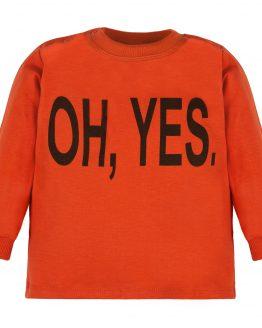 ruda bluzka długi rękaw z napisem oh yes
