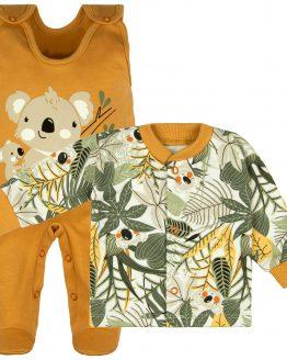 komplet niemowlęcy śpiochy beżowe i kaftan rozpinany w roślinki khaki
