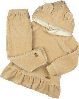 beżowy komplet welurowy dla dziewczynki bluza z falbanką i spodnie