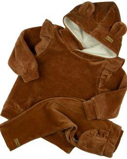 brązowy komplet welurowy dla dziewczynki bluza z falbankami i spodnie