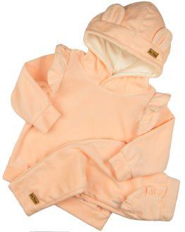 jasnoróżowy komplet welurowy bluza z falbankami i spodnie