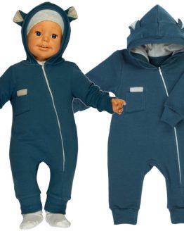 kombinezon dresowy pajac niemowlęcy niebieski z kapturem