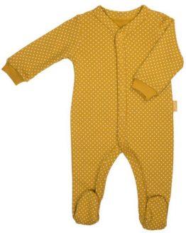 musztardowy pajac niemowlęcy w białe groszki Michalina