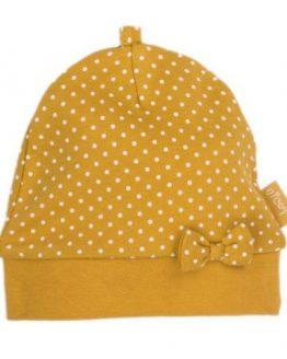 musztardowa czapeczka czapka niemowlęca z kokardą