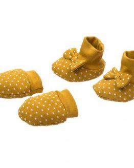 musztardowe łapki niedrapki i buciki niemowlęce z kokardkami NICOL