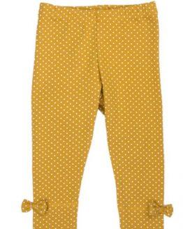 musztardowe legginsy w groszki z kokardkami