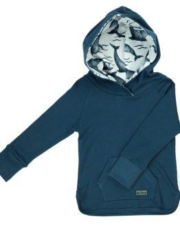 niebieska bluzka długi rękaw z kapturem delfin