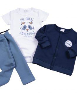 komplet niemowlęcy dla chłopca białe body z nadrukiem, granatowa bluza rozpinana i niebieskie spodnie dresowe szop