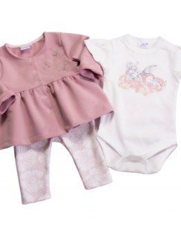 komplet dziewczęcy body spodnie bluza pudrowy róż jasny