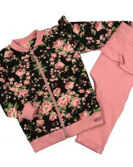 komplet dziewczęcy w róże angielskie bluza rozpinana i spodenki z falbankami pudrowy róż