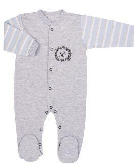 pajac niemowlęcy dyzio szary melanż z błękitnymi rękawkami