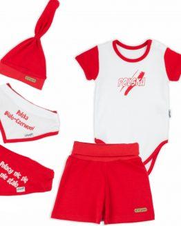 komplet euro 2021 biało-czerwony szorty body apaszki i czapka