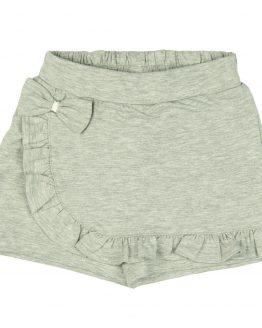 spódnicospodnie krótkie spodenki dziewczęce szare z falbankmi i kokardą