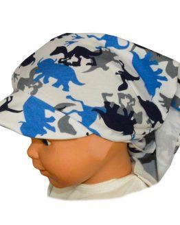 chustka z daszkiem dla niemowląt biała w niebieskie dinozaury